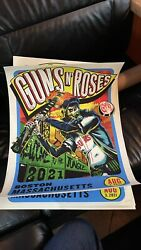 Guns Nandrsquo Roses Lithograph Poster Boston Fenway Park August 3 2021 X/250 Red Sox