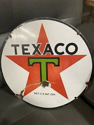 Texaco Vintage 15 Round Porcelain Lubester Sign Approx 1930s