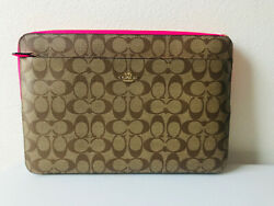 Nwt Coach C5979 Laptop Sleeve Zip Case Cover In Colorblock Signature Canvas