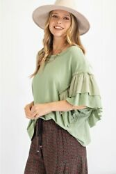 Easel Sage Ruffled Butterfly Sleeve Top