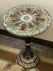 Antique Wood Table Beside Table Inlaid Mother Of Pearl Wooden Side Table