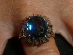 10k Solid White Gold Oval-cut Detailed Spinel Ring - Size 9 1/2 - 4.88 Grams