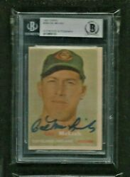 Cal Mclish '57 Topps Auto Beckett Authentic Indians All-star D. 2010 R.i.p. Read