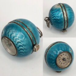 Antique Blue Guilloche Enamel Sterling Silver Watch Ball Charm Pendant Fob