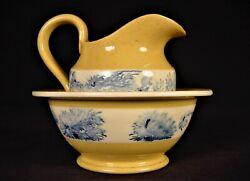 Extremely Rare 1800s Mocha Miniature Pitcher And Bowl Mochaware Yellow Ware Mint