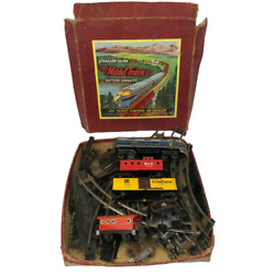 Rare Tin Train Set Vintage Model Trains +tracks In Box Made In Japan Untested