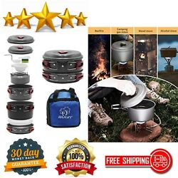 13 Pc Camp Cookware Set Lightweight Stainless Steel Backpacking Cooking Mess Kit