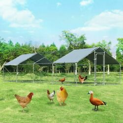 Large Walk In Chicken Coop With Roof Cover Outdoor Backyard Plastic Coated Wire