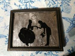 Antique Leather Embossed Gold Leaf Frame With Silhouette