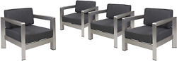 Christopher Knight Home 306463 Booth Outdoor Aluminum Club Chairs Silver Set O