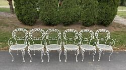 Lot Of 6 Beautiful Vintage Cast Iron Deck Lawn Bistro Patio Chairs Garden Rose