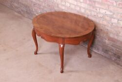 Baker Furniture Queen Anne Burled Walnut And Cherry Wood Coffee Table