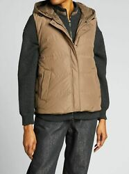 5450 Brunello Cucinelli Womenand039s Brown Hooded Zip-front Down Puffer Vest Size S