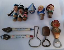 Vintage Hand Carved Wooden And Ceramic Figural Wine Stoppers Beer Bottle Openers
