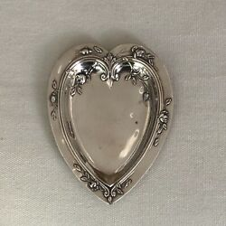 Antique Watrous Sterling Silver Heart Shaped Trinket Dish Raised Roses