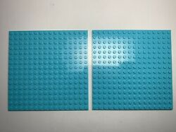 Lego Base Plate 16x16 Light Blue Lot 2pc Sky Color Lightly Used See Pics