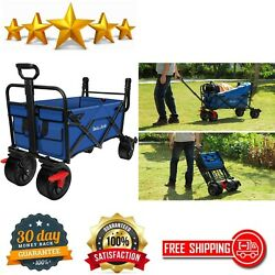 Folding Wagon Cart With Brakes Free Standing Collapsible Utility Camping Grocery