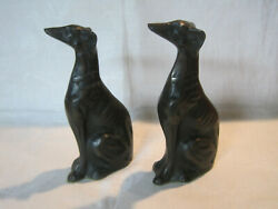 Vintage Bronze Greyhound Dog Or Whippet Dog Statues Figurines Bookends, Art Deco