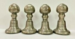 Old Antique Rare Handmade Brass And Wood 4 Pc Indian Bed / Charpai Leg Feets
