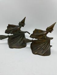 Rare Antique Pair Of Hubley Cast Iron Bronze Broomstick Flying Witch Bookends