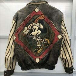 Vintage Jeff Hamilton Mickey Mouse Leather Blouson Jacket S Size From Us