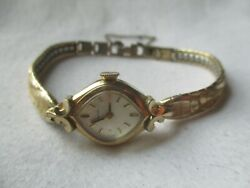 Bulova Wind Up Wristwatch Gold Tone Bracelet Band Vintage Collectible For Repair