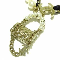 Auth Gold Black Cream Hardware Leather Fake Pearl Necklace