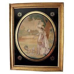Fine Antique Georgian Silk Embroidery And Watercolour Pastoral Picture C.1790