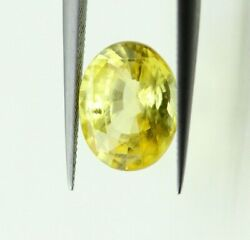 4.56 Ct Gii Certified No Heat Natural Yellow Sapphire Loose 11x8 Mm Oval Cut