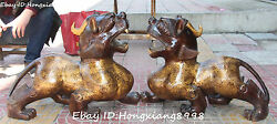 24 China Fengshui Bronze Gilt Dragon Loong Pixiu Beast Brave Troops Statue Pair