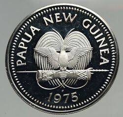 1975 Papua New Guinea Large 4.5cm Exotic Bird Proof Silver 10 Kina Coin I93383