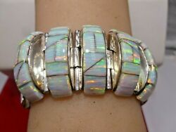 Signed R L Bangle Link Cuff Bracelet Turquoise Opal Inlaid Sterling Native Zuni
