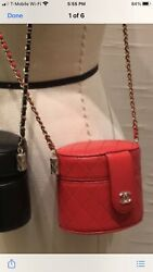 Nwt 21b Red Quilted Mini Vanity Clutch On Chain Crossbody Round Bag