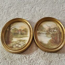Homco Home Interior 2 Oval Gold Frame Cottage Farm House Pictures