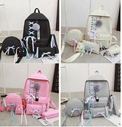 Women Backpack Shoulder Bag Set with Bow Zipper for Travel School Any Occasion $36.04