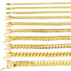 10k Yellow Gold Solid 2.7mm-10mm Miami Cuban Link Chain Necklace Bracelet 7-30