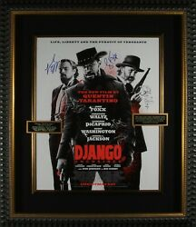 Authentic And039djangoand039 Hand Signed By Tarantino And Main Cast Movie Poster
