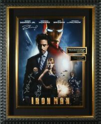 Authentic Marveland039s And039iron Manand039 Hand Signed Robert Downey Jr. And Cast Movie Poster