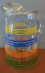 Vintage Libbey Glass Primary Colors Striped Pitcher Rainbow Ice Lip Handle