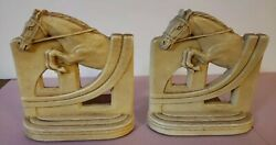 Vintage Ornawood Horse Decorative Book Ends Pair