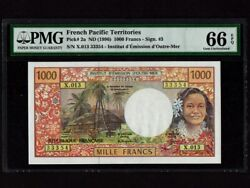 French Pacific Territoriesp-2a1000 Francs1996 Girl Pmg Gem Unc 66 Epq