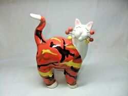 Rare 2002 Retired Amy Lacombe Whimsical Red Yellow Black Cat G I Adin No. 15364