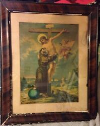 Vintage German Religious Lithograph St Francis Assisi Embracing Christ On Cross