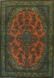 Antique Overdyed Floral Traditional Oriental Area Rug Hand-knotted Wool 10x14 Ft