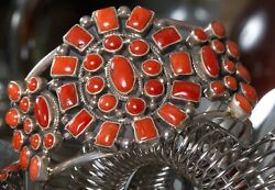 Navajosterling Silver Red Coral Cuff Bracelet By Kathleen Chavez