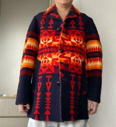 Used Pendleton Chief Joseph Antique Native Coat Mens L 40 Size Navy Red Color