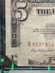 1953-a 5 United States Note Red Seal Banknote - Error Fold Note Super Rare