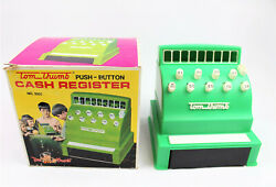 Vintage Tom Thumb Green Plastic Toy Cash Register With Box
