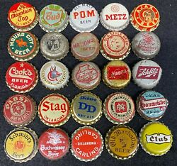 25 Different Vintage Beer Cork Lined Bottle Caps Crowns - Old Style, Stag, Etc