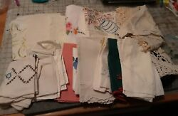 5 Pounds - Vintage Linen Lot - Tablecloths-runners-doilies-hand Towels Variety